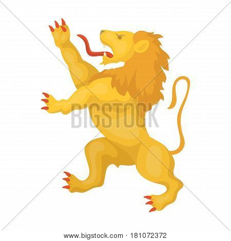 Golden lion symbol of belgium.The dark Belgian wolf. Belgium single icon in cartoon style vector symbol stock web illustration.