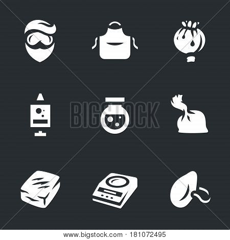 Chemist, apron, poppy, syringe, chemical, bulb, heroin, dose, scales, respirator.