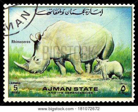 STAVROPOL RUSSIA - April 05 2017: A stamp printed in Ajman shows Rhinoceros circa 1967