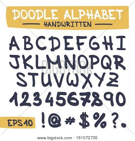 Hand Written Doodle Alphabet. Sketch Sign Illustration on Paper of Hand Drawn Font. Hand Drawing Handmade Letters for Web, App, Mobile, Business, Finance, Technology, Education. .