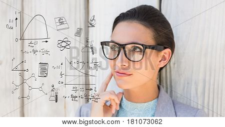 Digital composite of Thoughtful woman looking at math equations