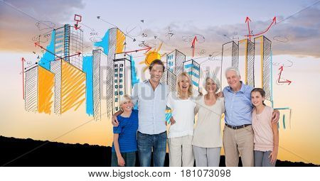Digital composite of Digital composite image of happy family with buildings against sky