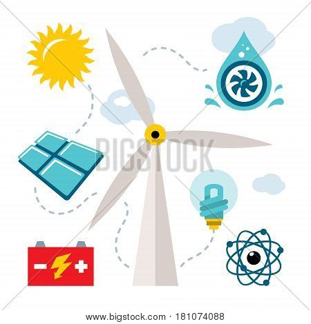Energy source - sun, wind, water, nuclear. Isolated on a white background