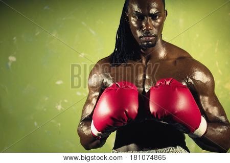 African male boxer wearing gloves