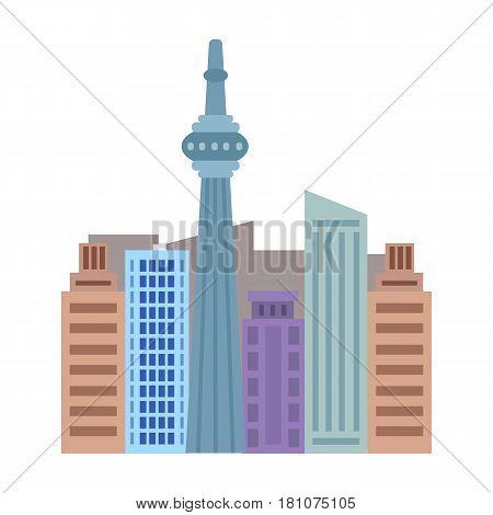 Canadian skyscraper. Canada single icon in cartoon style vector symbol stock illustration .