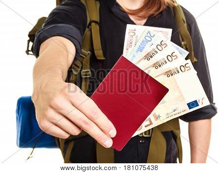 Tourist backpacker holding passport full of money. Human hiker backpacking. Summer vacation travel. Isolated on white background.