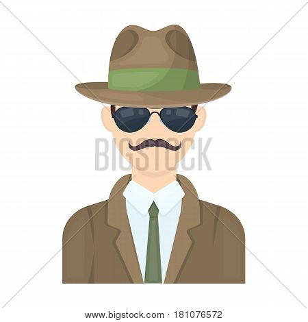 Man in hat suit raincoat and glasses. The detective undercover.Detective single icon in cartoon style vector symbol stock web illustration.
