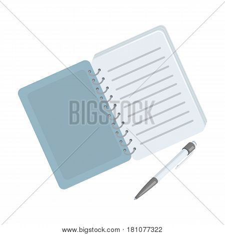 Paper notebook detective. Notepad to record readings, to solve the crime.Detective single icon in cartoon style vector symbol stock web illustration.