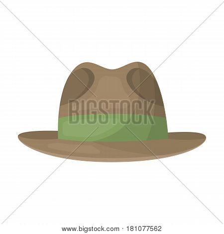 Brown hat with a brim. Headdress investigator for cover.Detective single icon in cartoon style vector symbol stock web illustration.