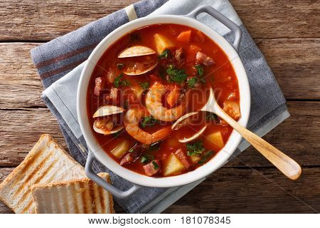 American Cuisine: Manhattan Clam Chowder Soup Closeup. Horizontal Top View