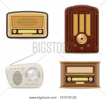 radio old retro vintage set icons stock vector illustration isolated on gray background
