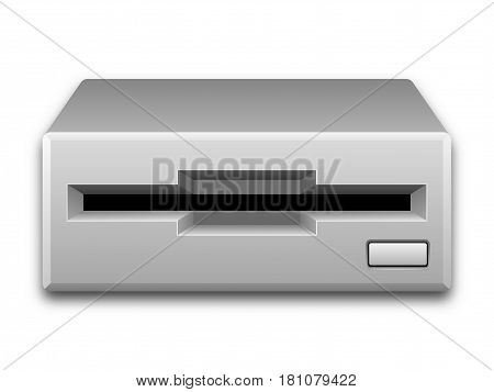 Vector Illustration Of An Old Floppy Disk Drive Isolated On A White Background