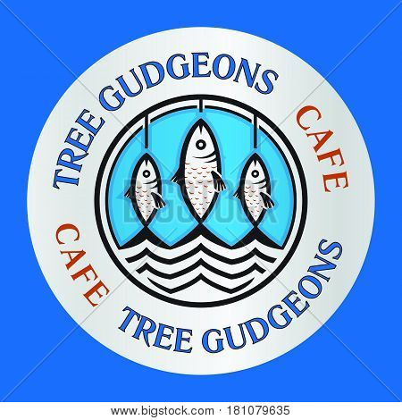 Three cartoon gudgeons fishes as seafood cafe restaurant logo template vector illustration.
