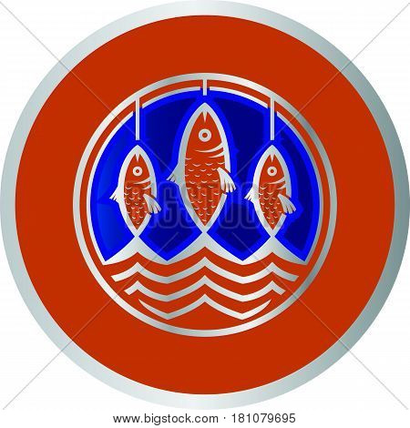 Three orange cartoon gudgeons fishes as logo template vector illustration.