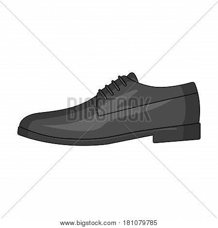 Mens leather shiny shoes with laces. Shoes to wear with a suit.Different shoes single icon in cartoon style vector symbol stock web illustration.