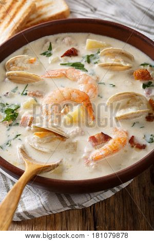 English Clam Chowder Soup Close-up. Vertical