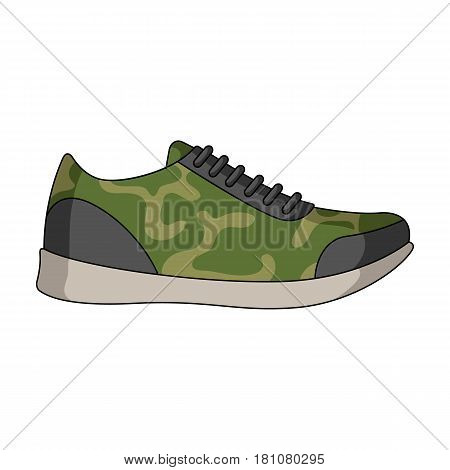 Rag camouflage sneakers for everyday wear.Different shoes single icon in cartoon style vector symbol stock web illustration.