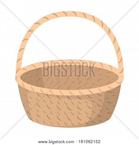 Wicker basket made of twigs. Easter single icon in cartoon style vector symbol stock web illustration.