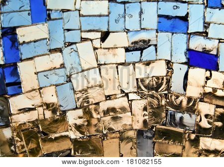 blurred abstract glass mosaic decoration. Stained-glass window. Leaded pane or panel. Glass painting. Decorative background. Selective focus. Closeup macro view. Horizontal.