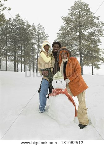 African family making snowman