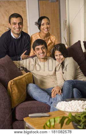 Multi-ethnic family posing