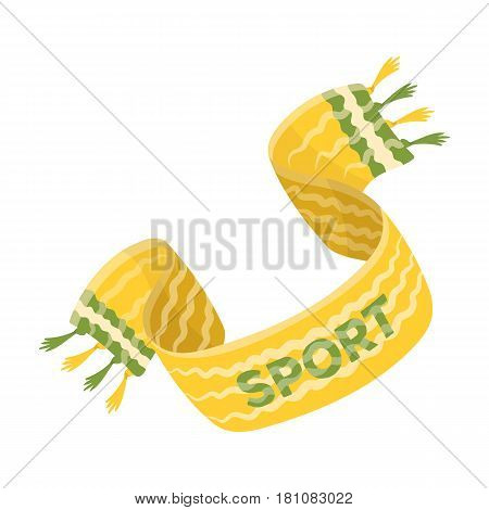 Yellow soccer fan scarf. Fans single icon in cartoon  vector symbol stock illustration.