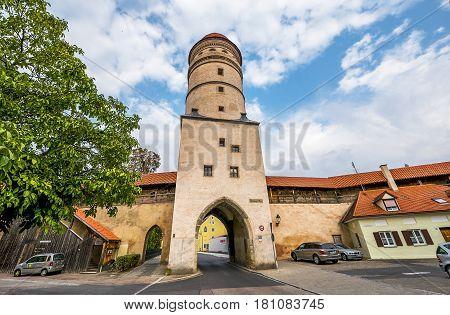 Rothenburg ob der Tauber, Germany - September  2016:  walking in the Old Town