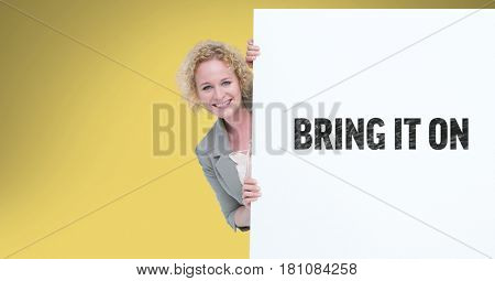 Digital composite of Portrait of businesswoman behind bill board with bring it on sign