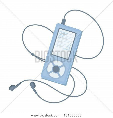MP player for listening to music during a workout.Gym And Workout single icon in cartoon style vector symbol stock web illustration.