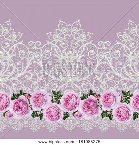 Seamless pattern border. Openwork weaving delicate silver background shiny lace vintage old style arabesques. Edging decorative. Decoration from pearls beads. Flower garland of pink roses.
