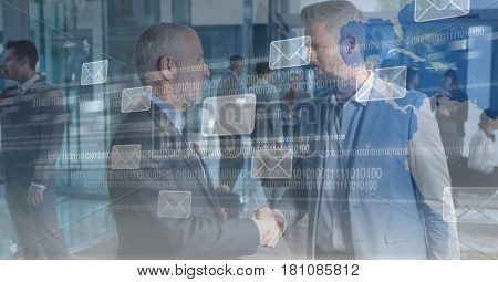 Digital composite of Digital composite image of business people shaking hands with message icons and binary code on scree