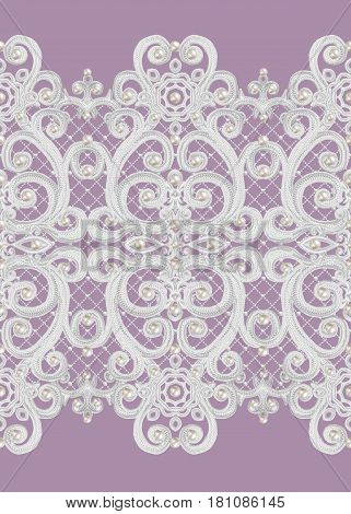 Seamless pattern border. Openwork weaving delicate silver background shiny lace vintage old style arabesques. Edging decorative. Decoration from pearls beads.
