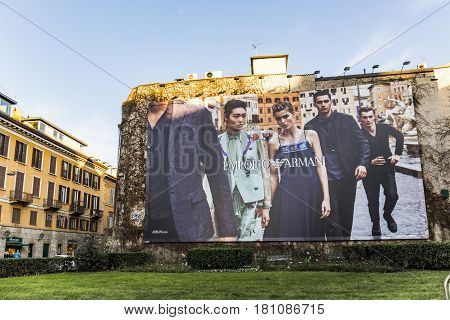 Advertising From Georgio Armani  At A House Wall In Milan, Italy