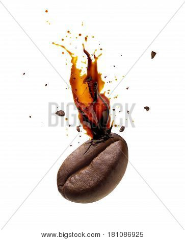 Coffee bursting out from coffee bean isolated on white background