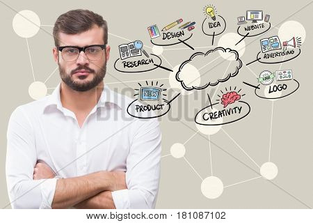 Digital composite of Digital composite image of businessman with arms crossed by icons surrounding cloud