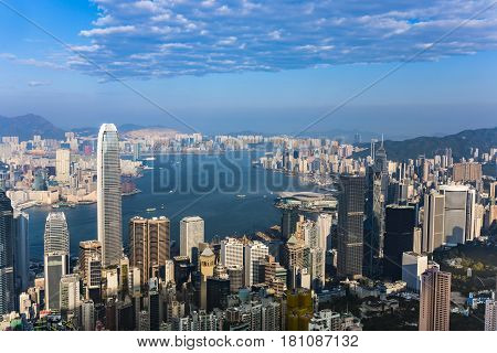 Hong Kong City View From Victoria Peak