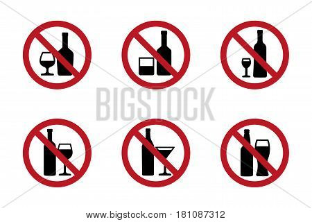 No alcohol icons set with various drinks. Vector