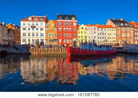COPENHAGEN DENMARK - MARCH 11 2017: Copenhagen Nyhavn district. Nyhavn was constructed by King Christian V from 1670 to 1673 dug by Swedish prisoners of war from the Dano-Swedish War 1658-60