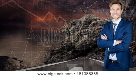 Digital composite of Digital composite image of businessman standing arms crossed by screen