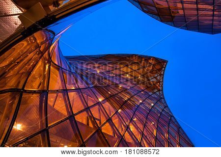 MALMO SWEDEN - MARCH 08 2017: Malmo's Emporia Shopping Center modern glass facade. The largest shopping mall in Scandinaviall was designed by architect Gert Wingardh