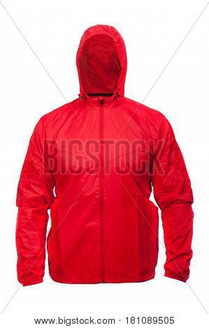Red windbreaker sports jacket with hood isolated on white