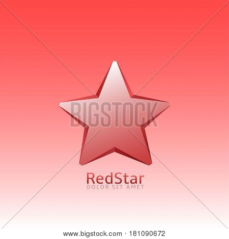 Red star logo. Christmas sign, luxury label for your business brand or communism emblem