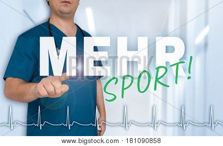 Mehr Sport (in German More Sports) Doctor Shows On Viewer With Heart Rate Concept