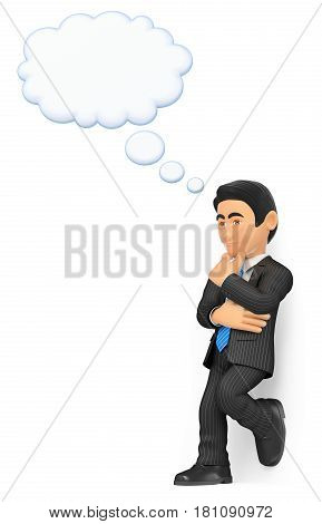 3d business people illustration. Thoughtful businessman with a thinking bubble. Isolated white background.