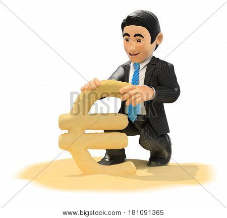 3d business people illustration. Businessman making euro symbol with beach sand. Isolated white background.