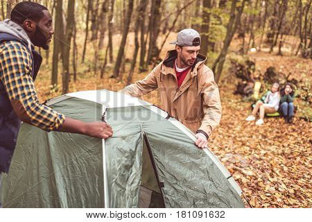 Men Pitching Tent In Autumn Forest