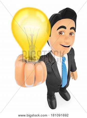 3d business people illustration. Businessman with a lit light bulb. Idea concept. Isolated white background.
