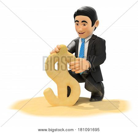 3d business people illustration. Businessman making dollar symbol with beach sand. Isolated white background.