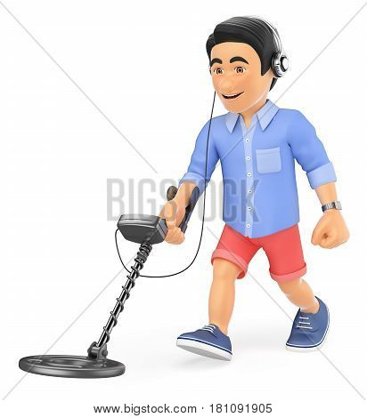 3d young people illustration. Young man in shorts walking with a metal detector and headphones. Isolated white background.