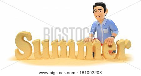 3d young people illustration. Man in shorts making the word summer with beach sand. Isolated white background.